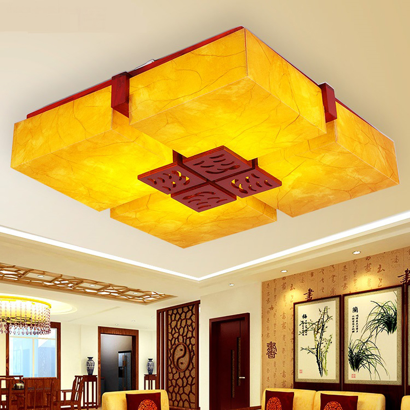 Chinese style Wooden Chinese antique lamps ceiling lamp parchment bedroom Wood Hall rest ...