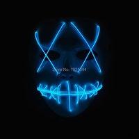 Оптовая продажа 100 шт. Хэллоуин призрак разрез с подсветкой светящиеся el wire партии маски мода el маска для День рождения