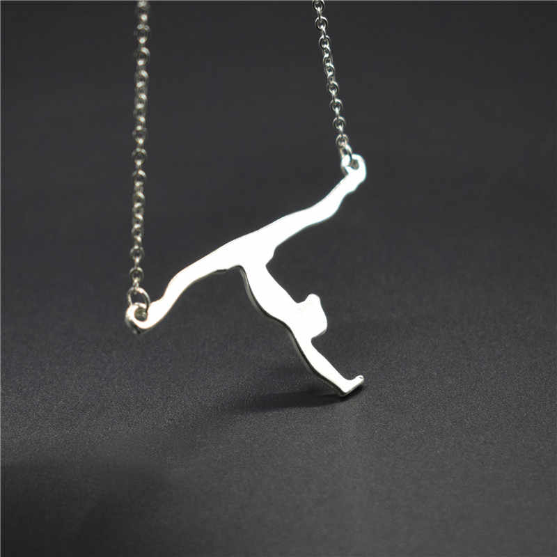 Elfin Gymnastic Necklaces Gymnast Silhouette Charm Gymnast Jewelry Acrobat Jewelry Figure Jewellery Sports Lover Gift