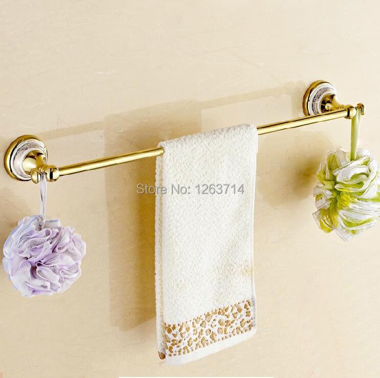 Free Shipping Wall Mounted Brass Golden Polished Finish Ceramics Bathroom Accessories Towel Bar,Towel Rack OG-27824C стоимость