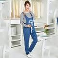 Материнство Джинсовые Комбинезоны Для Беременных Джинсы для Беременных Женщин Беременность Pantselastic пояс брюк подтяжк Брюки Живот