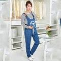 Macacão Jeans maternidade Jeans Maternidade para As Mulheres Grávidas Gravidez Pantselastic cintura suspender calças Calças Barriga