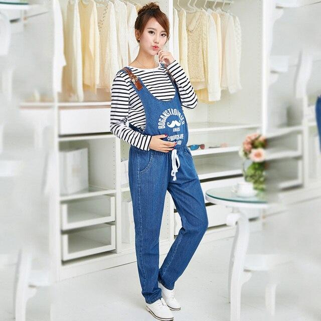 7a400a69f Maternidad Denim Monos Maternidad Vaqueros para embarazadas embarazo  Pantalones pretina elástico suspender pantalones vientre Pantalones