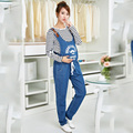 Overol de Mezclilla de maternidad Pantalones Vaqueros De Maternidad para Las Mujeres Embarazadas Embarazo Pantselastic pretina de pantalones de la liga Pantalones Del Vientre