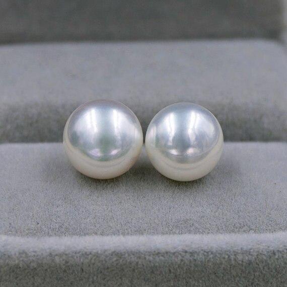Boucles d'oreilles en perles de charme, blanc AA 9.5-10 MM véritable perle d'eau douce 925 boucles d'oreilles en argent Sterling, cadeau d'anniversaire de mariage femme