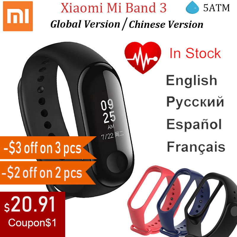 Xiaomi Mi Band 3 Miband3 Smart Wristband Fitness Tracker Bracelet Heart Rate Instant