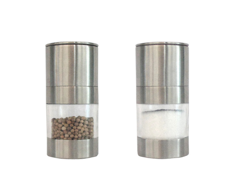 Portable Silver Stainless Steel Manual Salt Pepper Spice Mill Grinder Kitchen Accessaries Cooking Tool Impact Drill Pepper mill stainless steel cuticle removal shovel tool silver