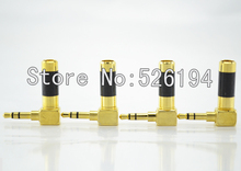 Free shipping Oyaide style 3.5mm Stereo Mini Carbon Plug P-3.5GL Right Angle 24K Gold Plating