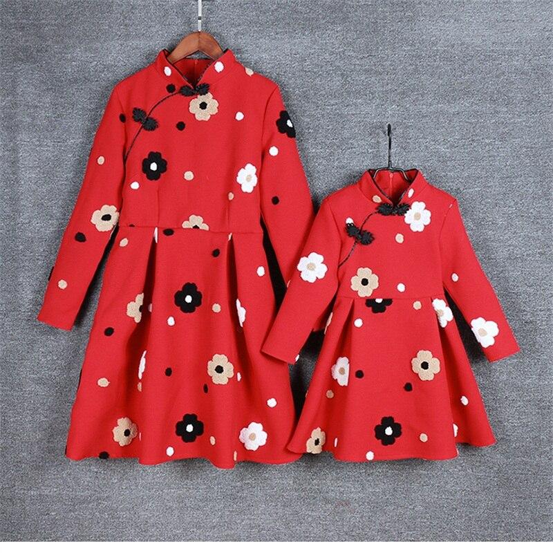 Marque maman et moi vêtements enfants filles chinois amélioré cheongsam robe mère et fille robes famille correspondant tenues