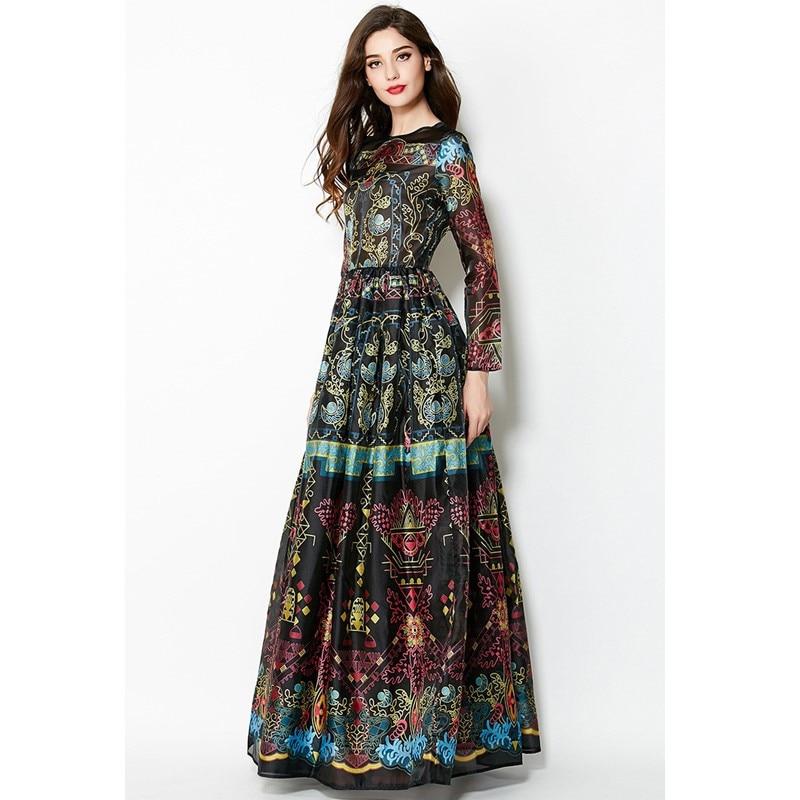 bd928464f60a0 الرجعية فستان أنيق بطبعة الزهور Vestidos و الذاتي زراعة و وضع 2018 المدرج  جديد الراقية مخصص النساء Vestidos زائد حجم