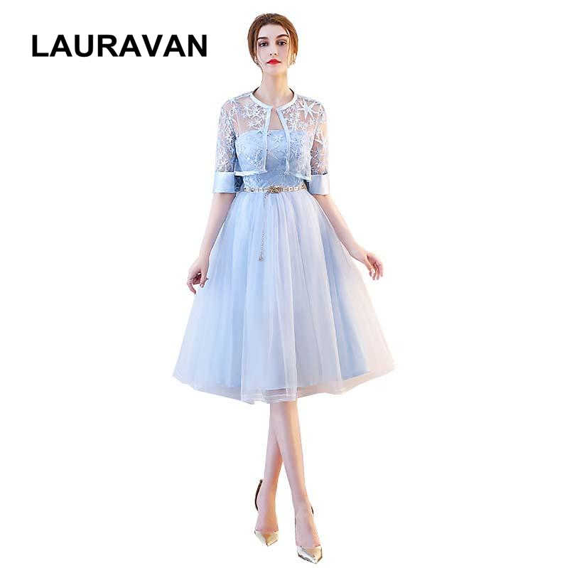 ea43435358d0 light blue o neck lace modest short simple tulle bridesmaid dresses from china  women bride dress