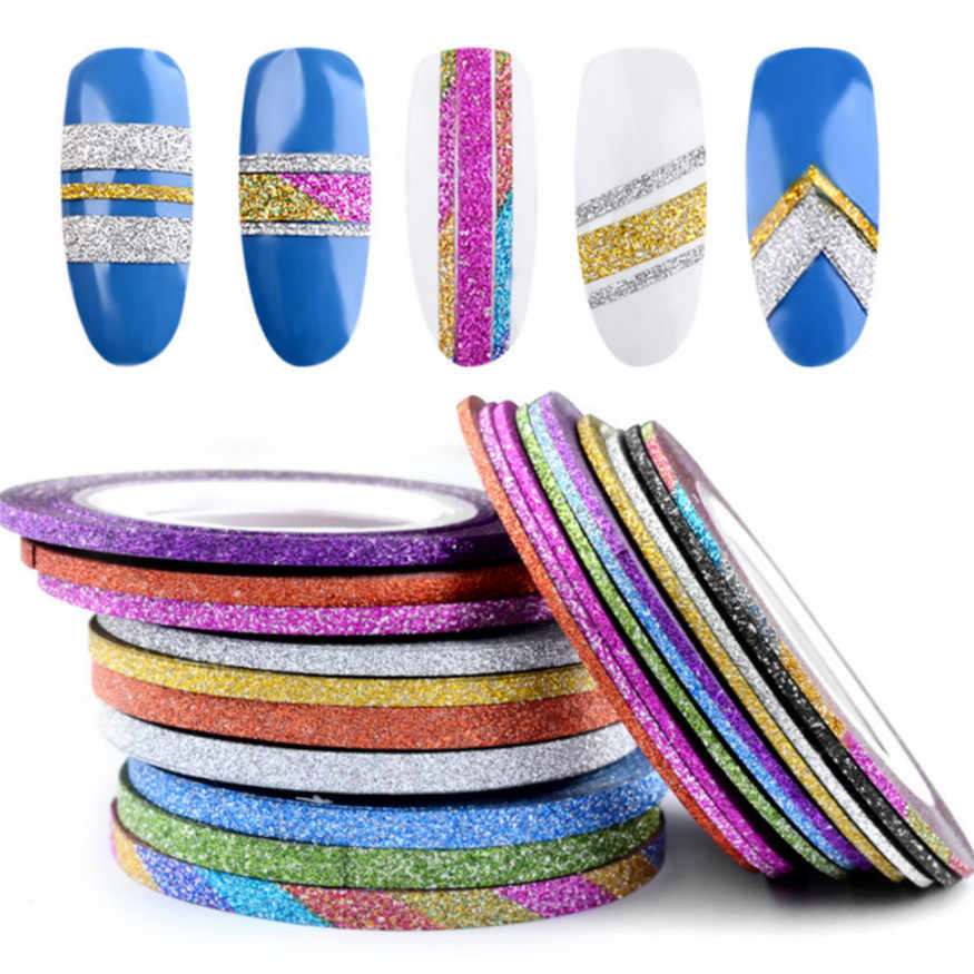 12 Colors Glitter Nail Striping Line Tape Sticker Set Art Decorations DIY Tips For Polish Nail Gel Rhinestones Decorat Jmc14 1mm