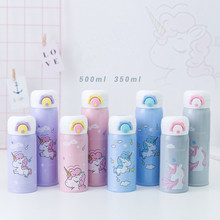 350 500ml Stainless Steel Thermos Children #8217 s Cups Cartoon Unicorn Vacuum Flask Thermo Kids Water Bottle Tea Mug Thermocup Q cheap IQIAN CN(Origin) Z-314 Eco-Friendly Stocked Mini PORTABLE Business Hand Pressing Type Vacuum Flasks Thermoses Bullet CE EU