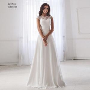Image 4 - 저렴한 특종 목 레이스 웨딩 드레스 2020 민소매 주름 벨트 쉬폰 비치 웨딩 드레스 로브 드 Soiree 오픈 다시 Casamento