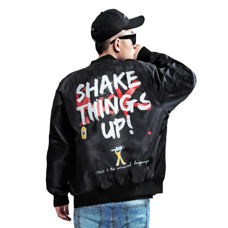 High Street Brand Coats SHAKE THINGS UP Print Graffiti Men Bomber Jacket MA1 pilot jackets Hip Hop male Outerwear image