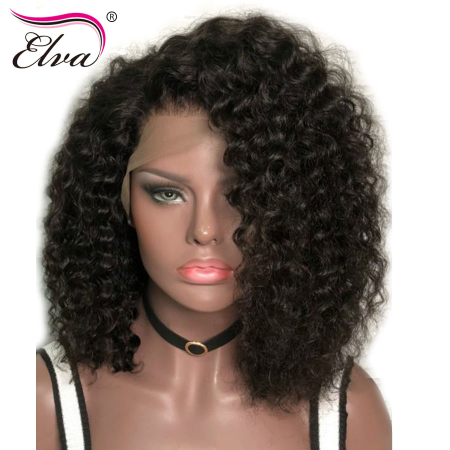Elva Hair 360 Lace Frontal Wig Brazilian Curly Short Lace Front Human Hair Wigs With Baby Hair Pre Plucked Hairline Remy Hair