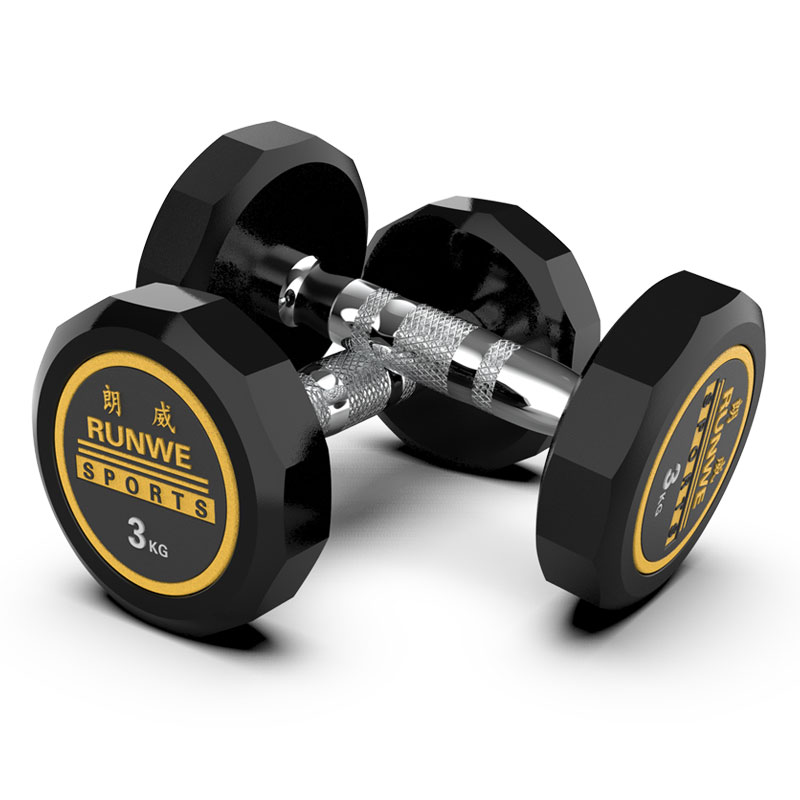 Plastic-coated Twelve-sided Dumbbell Set Fitness Equipment Safe and Wear-resistant Solid Forging for Adult Home Fitness Gym