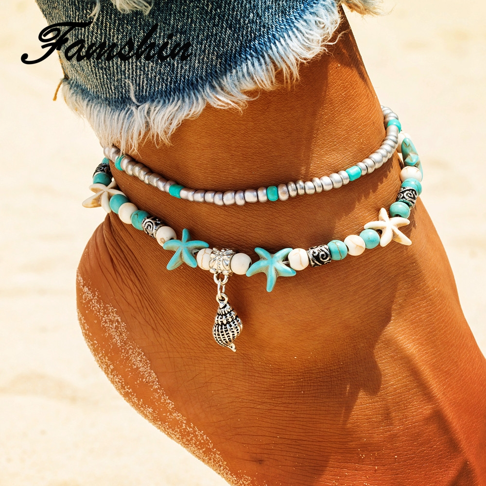 FAMSHIN Vintage Conch Anklets For Women Bohemian Retro Rope Anklet Beach Bracelet Chain Animal Foot Jewelry 2018 NEW Gift