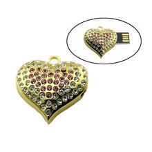 2016 Usb Flash Drive Heart Jewelry Crystal Diamond Pendrive 4GB 8GB Pen Drive 16GB 32GB 64GB Memory USB stick 2.0
