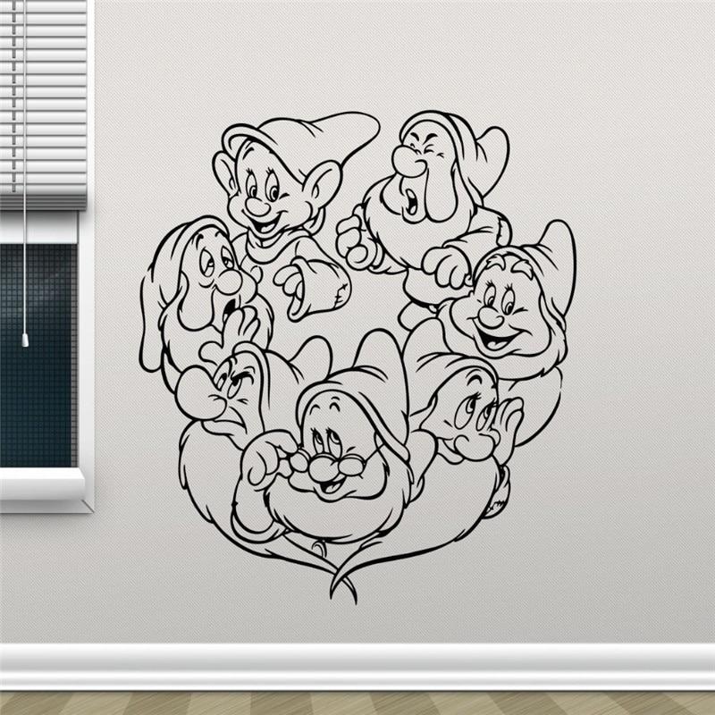 Snow White and the Seven Dwarfs Cartoon Cute Girl Vinyl Sticker Living Teen Kids Room Wall Decor Cool Nursery Wall Sticker