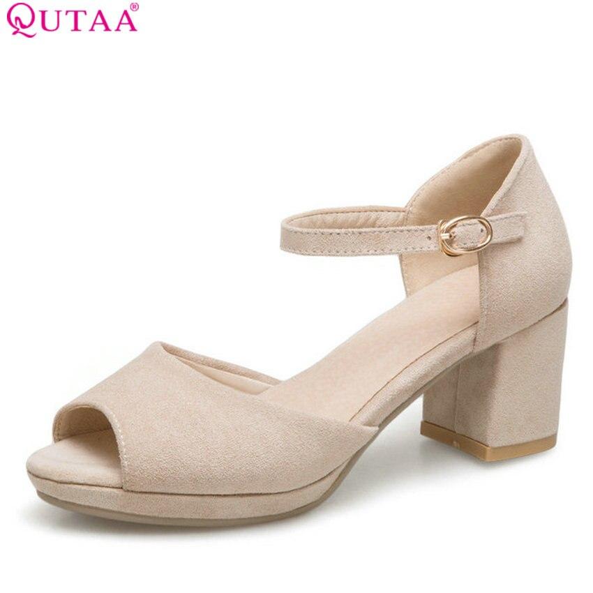 QUTAA 2018 Women Pumps Summer Fashion Flock Women Shoes Platform Peep Toe Square High Heel Westrn Style Women Pumps Size 34-43 qutaa 2018 women shoes flock hoof high