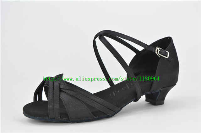 Specials! Juvenile female Latin shoes factory outlets (Black Satin) L8 satin dance shoes children shoes