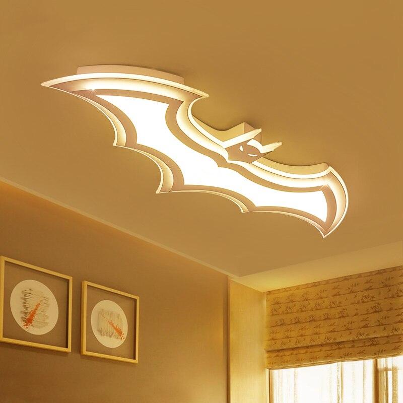 Lámpara de techo de Batman para niños, luces de techo de sala de estar 110V 220 V, luz de techo moderna, led simple con control remoto - 4