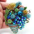 Unique Fashion Blue Parrot Fruit Group Artificial Crystal Jewelry,Rhinestone Brooches
