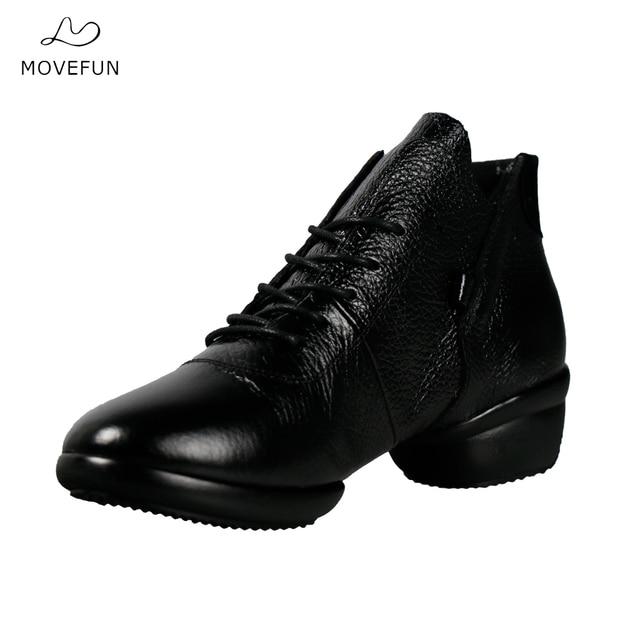 Movefun nuevo cuero danza Zapatos mujer plataforma de alta superior Jazz  hip hop Zapatos street dance 038f7bf58d3