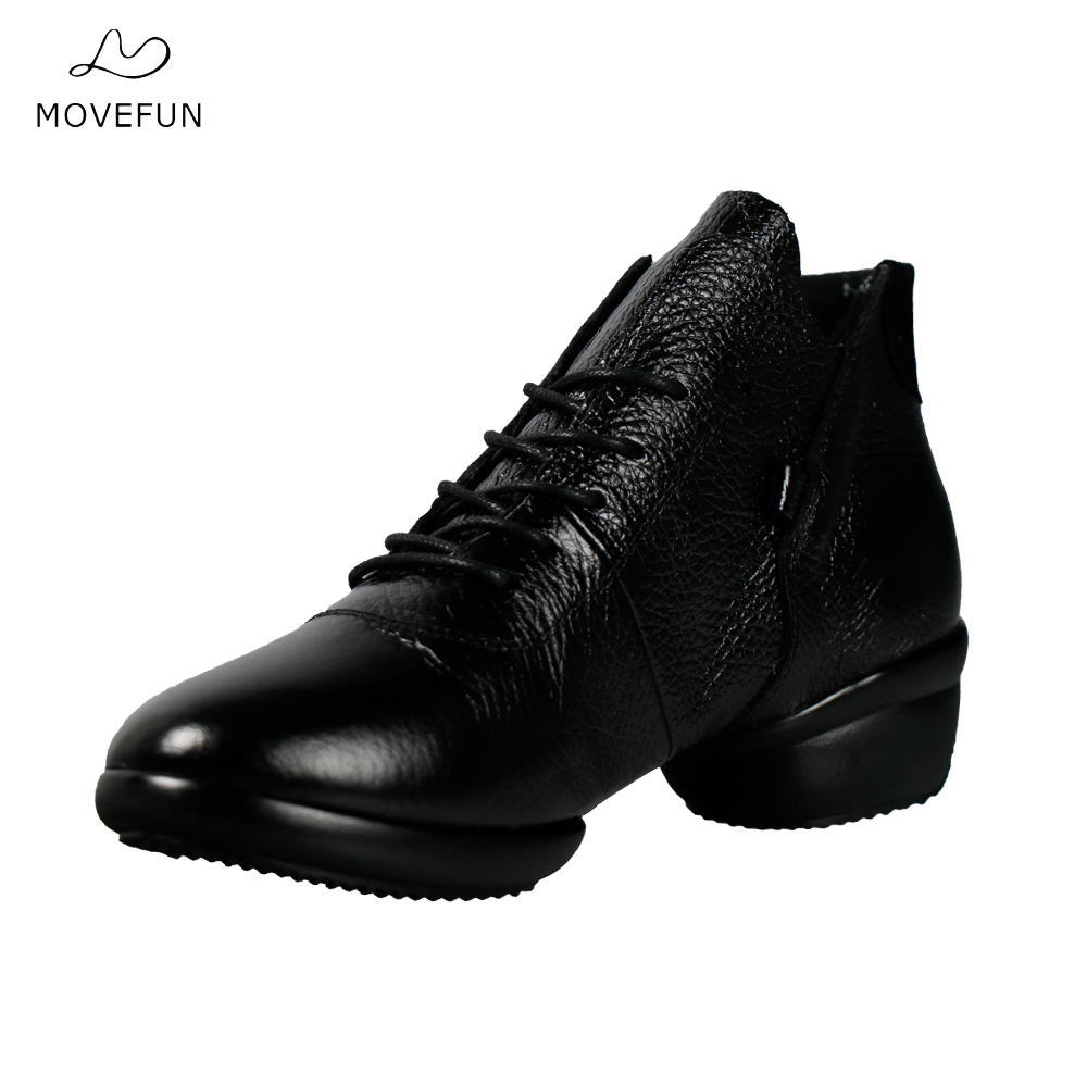 movefun New Leather Dance Shoes Woman Platform High-top Jazz hip hop Shoes Street Dance Sneakers Girl Dancing Boots Soft sole 85 genuine leather dance shoes women jazz hip hop shoes latin salsa sneakers for woman dance shoes size 35 36 37 38 39 40