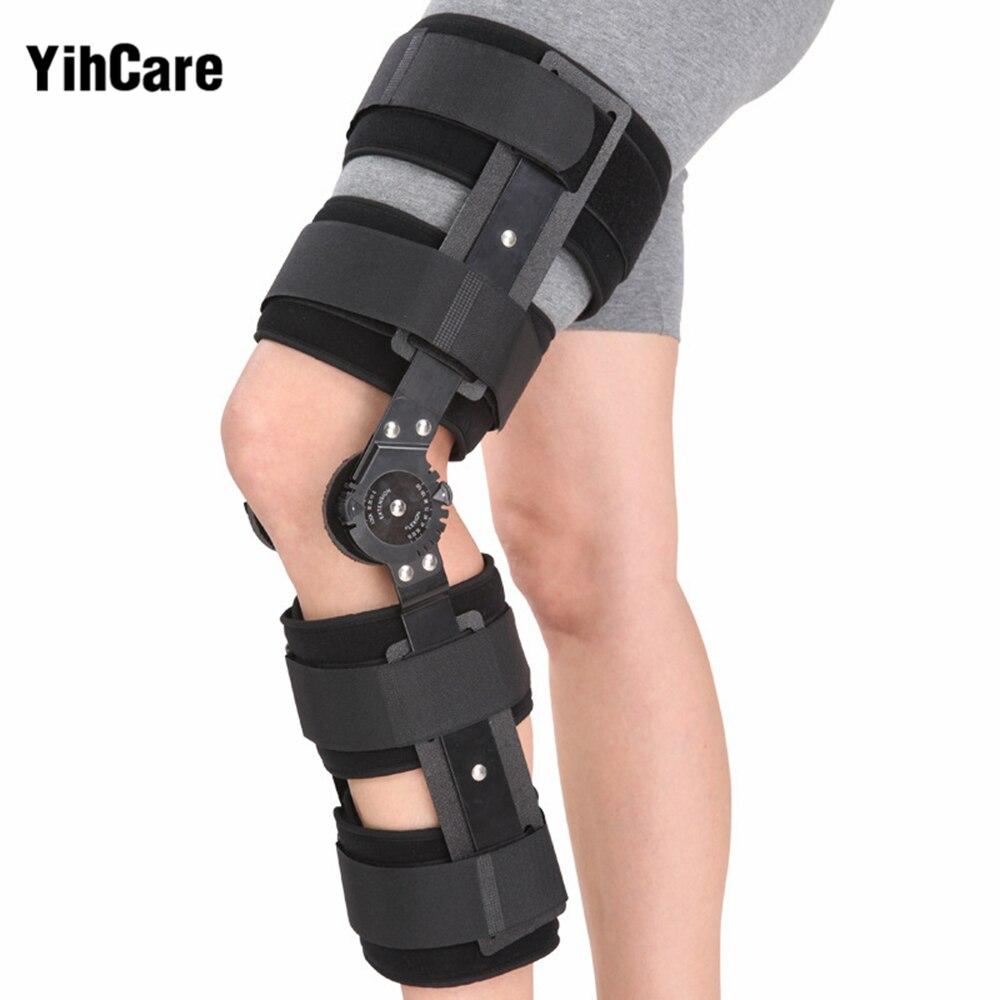 YihCare Ortopédica Articulada Knee Brace Suporte Envoltório Entorse Splint Estabilizador Ajustável Pós-Operatório Hemiplegia Flexão Extensão