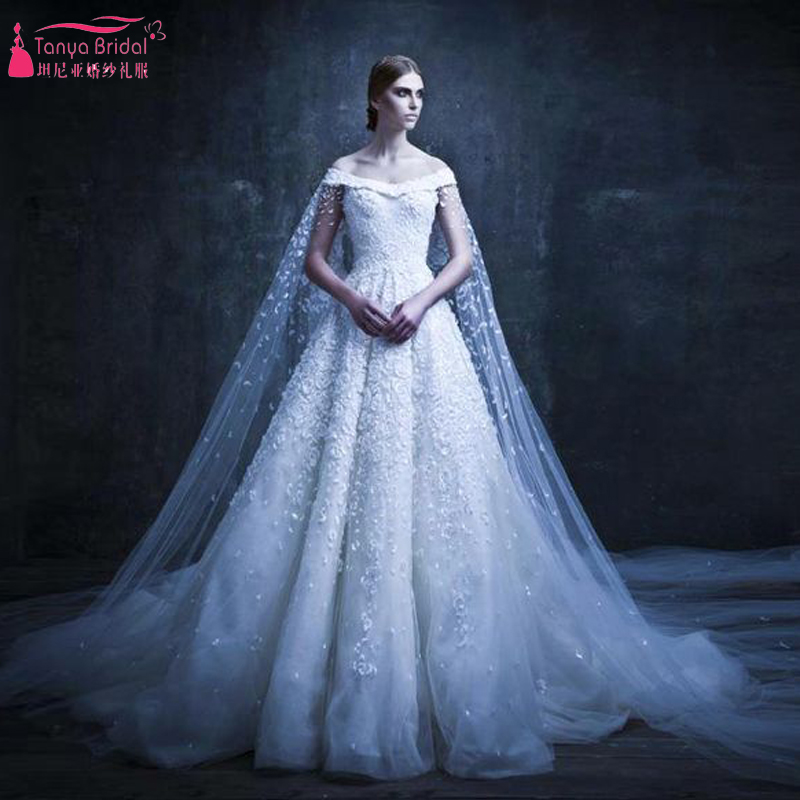 a Line Gergeous Arabic Wedding Dress Lace appliques elegant Bridal ...