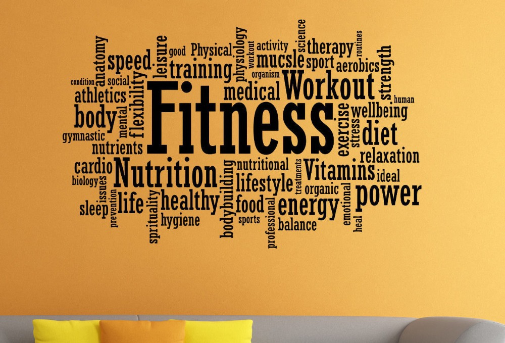Popular fitness motivation wall sticker gym fitness quote for Posters para gimnasios