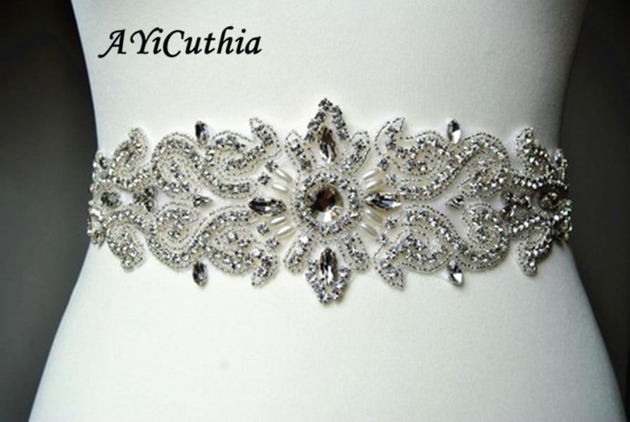 AYiCuthia Hand Made Width Rhinestones Ribbon Pearls Satin Wedding Dress Belt Luxury Sash Ribbon White Beige Bridal Belt Y7