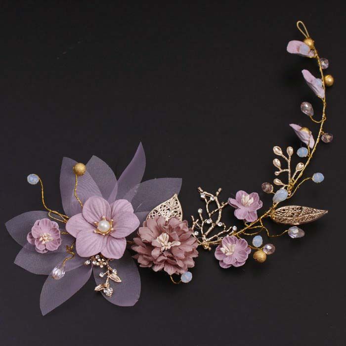 Bridal Headdress Hair-Accessories Flowers Tiara-De-Noiva Handmade Wedding Pink Golden-Leaves
