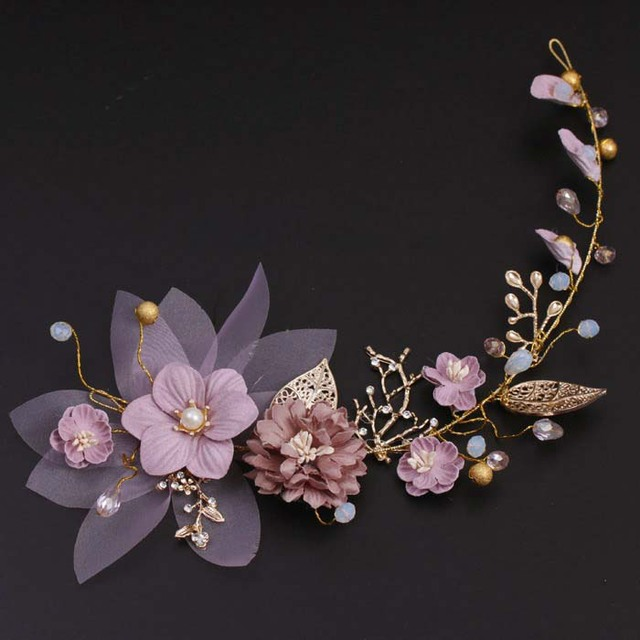 ae76a30b2772f الراقية النحاس سلك اليدوية الوردي الزهور الذهبي يترك الزفاف غطاء الرأس لينة  العروس تيارا دي noiva