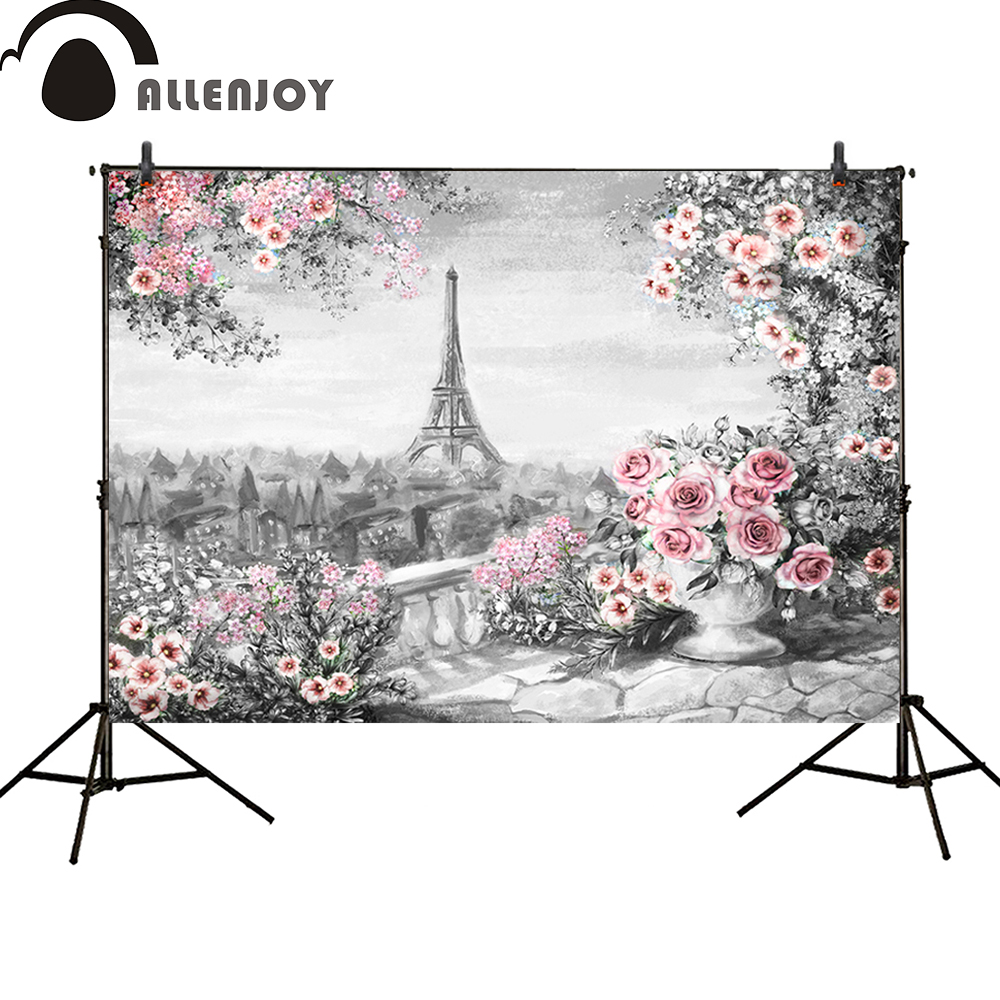 Allenjoy background photography Paris Eiffel Tower pink Floral Spring oil painting banner newborn background photocall