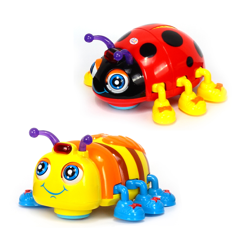 HOLA 82721 Baby Toys Infant Crawl Beetle Electric Toy Bee Ladybug With Music & Light Learning Toys For Children Xmas Gifts