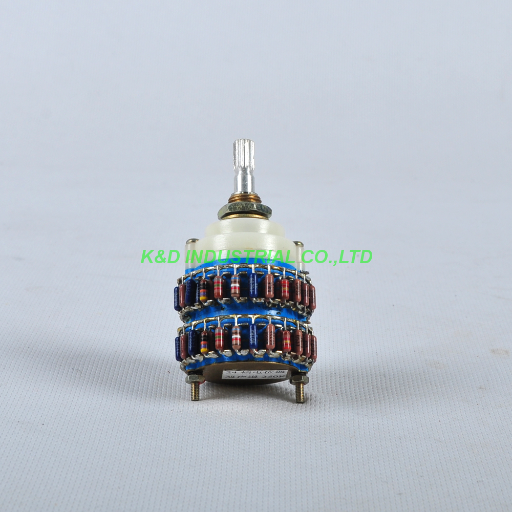 1pc 4Pole 24 Step DALE Attenuator Volume Pot Stereo Potentiometer 500KY Audio Tube Amplifier in Electrical Plug from Consumer Electronics