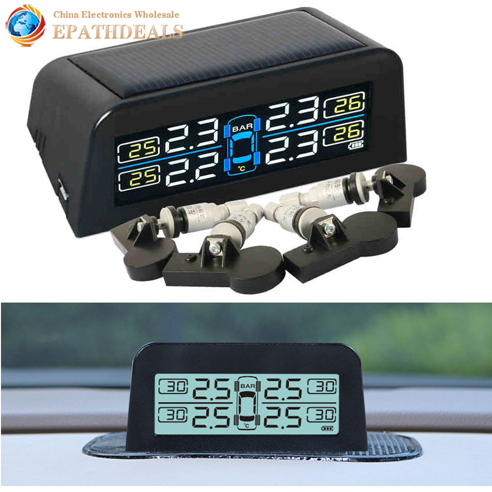 WINDEK Solar Panel Charge Internal Sensor Auto Car Wireless TPMS Tire Pressure Alarm Digital Monitoring System LED Display universal hotaudio dasaita built in tpms car tire pressure monitoring system car tire diagnostic tool with mini inner sensor