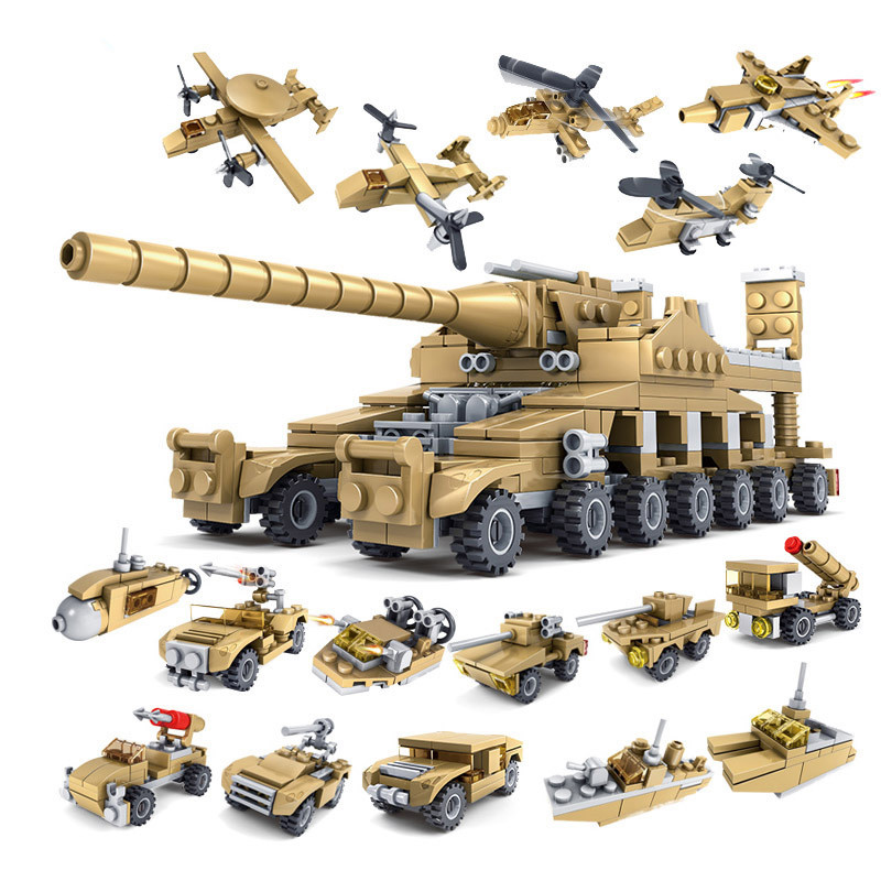 544pcs 16 In 1 Military Tank Armored Vehicle Building Model Blocks Bricks Compatible Legoings City Army Weapons Toys For Childre