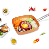 Grand Innovation Induction Based Square Non Stick Copper Ceramic Coated Frying Pan 9 5 Inches KGI