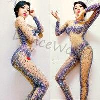 customized handmade colorful AB rhinestone costumes shining tight bodysuit dj singer dancer costume for women