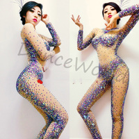 customized handmade colorful AB rhinestone costumes shining tight bodysuit dj singer dancer costume for women