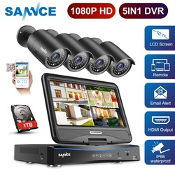 Sannce FHD DVR Kit 1080P 5 in 1 Security System TVI DVR 10'1 Inch LCD H.264 IP66 Weatherproof CCTV Monitor NVR IPC Camera Set