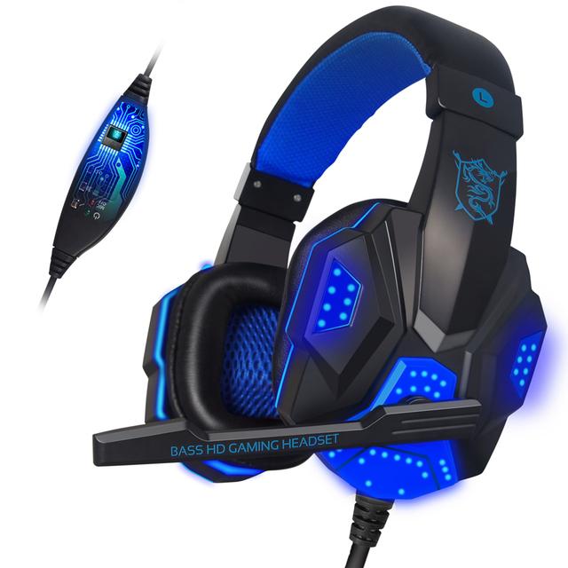 Luz led plextone auriculares de juegos con micrófono headset juego de auriculares usb para ordenador pc estéreo con cable auriculares audifonos