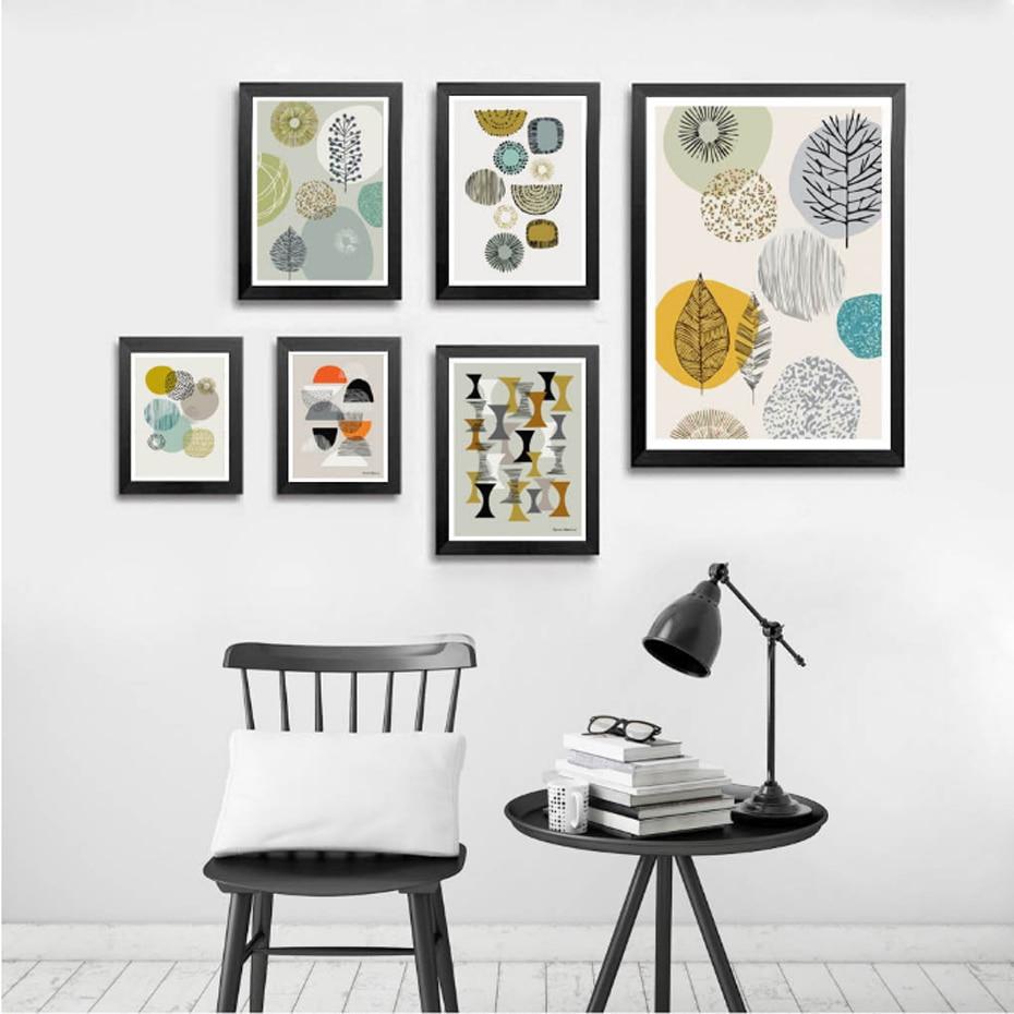 245 46 De Réductiongéométrique Nordique Scandinave Toile Peinture Vintage Abastract Affiche Imprimer Mur Art Photos Pour Salon Bureau Décor à La