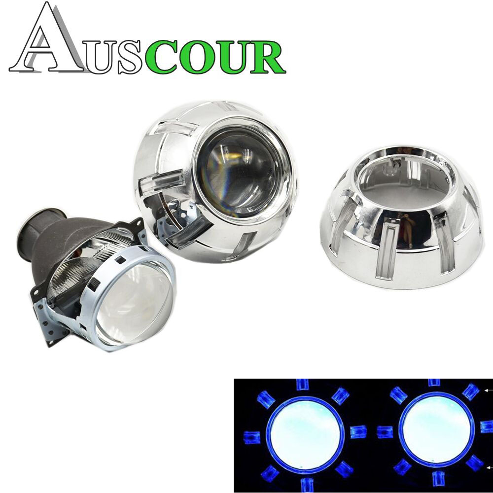 3.0 bixenon HID projector lens Easy Install Koito Q5 shroud Mask LHD with demon eyes white red blue eyes H1 H4 H7 car assembly safego h1 h7 h4 mini 2 5 inch bixenon projector lenses mask shroud double angel eyes car hid headlight projector kit lens