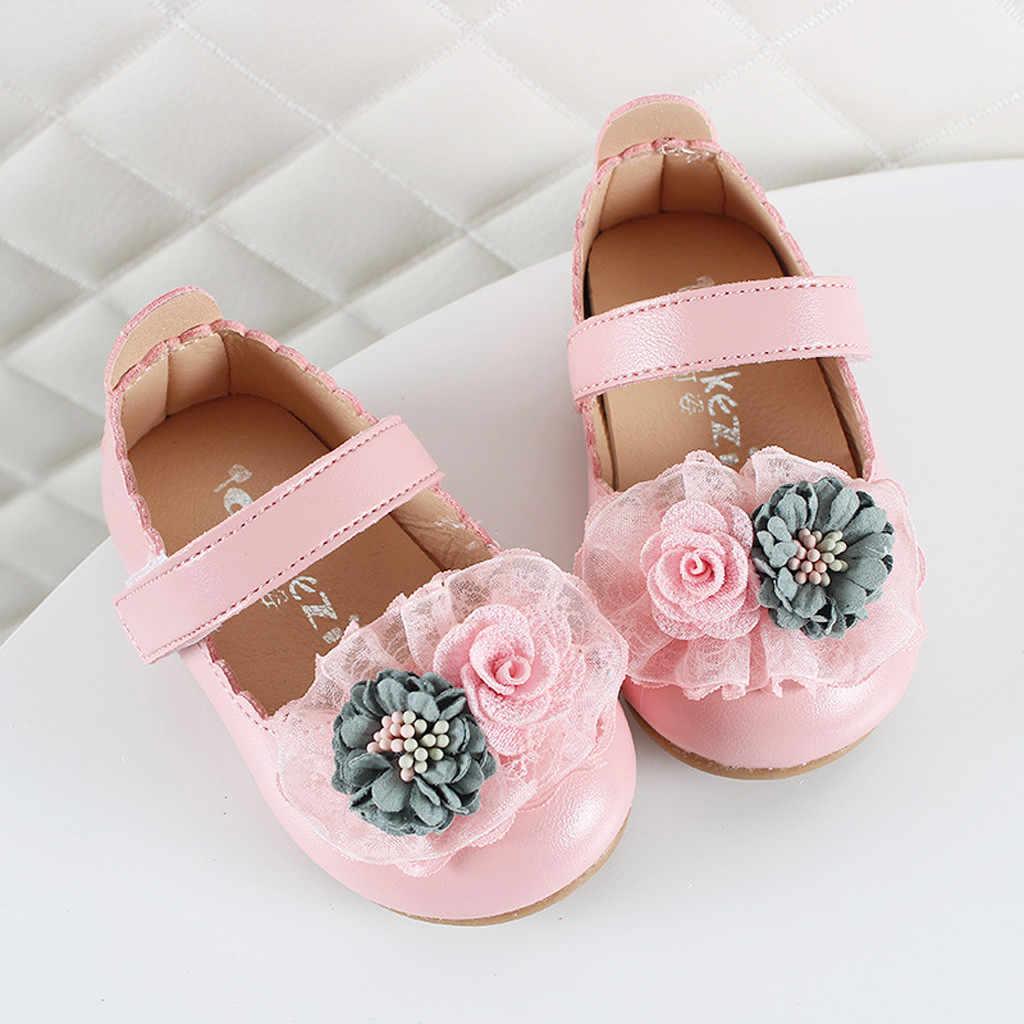Çocuk çocuk ayakkabı kızlar rahat moda sandalet bahar yaz zarif çiçek ayakkabı içi boş sandalet kanca ve döngü prenses ayakkabı