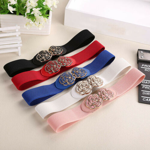 Hot Women Wide Waist Belt Vintage Metal Flower Elastic Stretch Buckle Waistband Cummerbunds